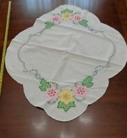 Vintage Handmade Oval Embroidered cotton dresser scarf pink yellow Flowers