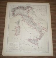 Carl Flemming  Map of Italy. Circa 1850. Map in German