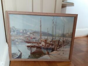 Vintage Print by Veronon Ward 'Evening At Looe'  Original frame Boats In Harbour