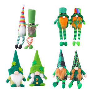 2pcs ST. Patricks Day Green Scandinavian Gnome Plush Clover Holiday Decor