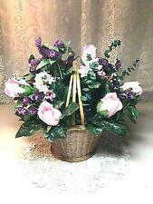 Artificial Silk Flower Arrangement Roses, Purple Clover in Basket
