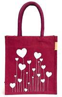 Jute Bag Women's  Lunch Bag Tote Bag Bag for Tiffin Bags with Zip Totes Maroon