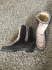 VTG 60s Womens SNOWLAND Snow Boot 7 USA Faux Fur Sherpa Back Zip Multi-Color