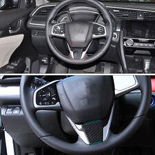 Carbon Fiber Steering Wheel Panel Panel Trim Fit For Honda Civic 10th 2016-2017