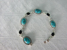 Bracelet Turquoise and Onyx 8 inches Sterling Silver Settings Safety Clasp New