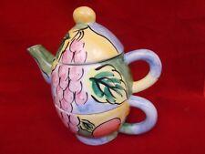 Bella Casa by Ganz Tea For One Teapot & Cup 3 Piece Set , Grape Design
