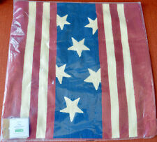 """Pottery Barn FLAG EMBROIDERED Pillow Cover ~ 18""""~ American ~ July 4th"""