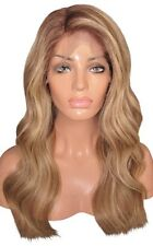 Human Hair Wig Full Lace 18 Long Wavy Brown Blonde 4 6 613 Highlights Silk Top