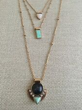 Beautiful New 3 In 1 Zara Gems Turquoise And Gold Long Necklace