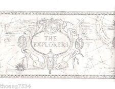 Nautical Old World Explorers Adventure Compass White Grey Gray Wall Paper Border