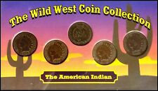 Wild West Coin Collection: American Indian: 5 Indian Head Pennies: Display Case