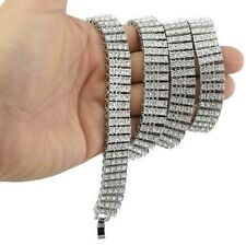 "Hip Hop Bling Pharaoh White Gold PT 4 Iced Out Rows 30"" CZ Stone Chain Necklace"