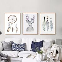 Abstract Nordic Art Deer Feather Minimalist Canvas Poster Print Home Decoration