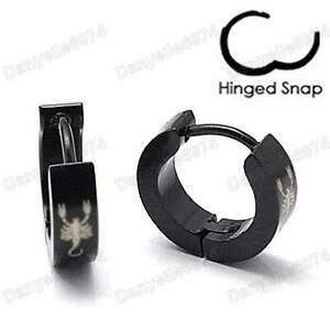 SCORPION surgical steel MEN'S HUGGIE HOOP Hinge EARRINGS black/silver 316L mens