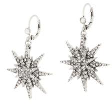 KIRKS FOLLY STAR OF WONDER LEVERBACK EARRINGS  silvertone