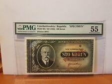 Czechoslovakia specimen from government bank scare 100 korun PMG 55