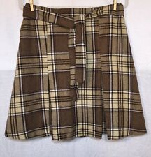 "SUPER CUTE BROWN PLAID PLEATED SKIRT by Christy Girl U.S.A.  size 30"" waist"