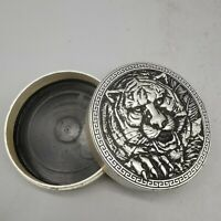 Collect tibet Silver copper carved tiger head Brush cartridge ink case round box