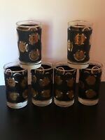 Vintage Libby Mid Century Black & Gold Coin High Ball Whiskey Beverage 6 Glasses