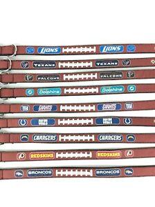 "NFL Leather Football Dog Collar Large Dogs 28"" Long Adjustable Choose Team"
