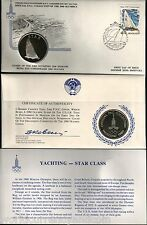RUSSIA 1980 MOSCOW OLYMPIC YACHTING STAR SILVER UNC CURRENCY COIN + FDC STAMP