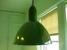 """ANTIQUE VINTAGE PORCELAIN INDUSTRIAL BARN GAS STATION LIGHT LAMP 17""""H X 16"""" D"""