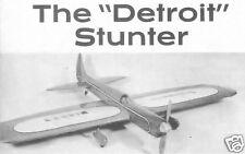 "Model Airplane Plans (UC): Vintage STRATHMOOR DETROIT STUNT 56"" for .29-.35"