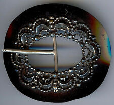 BEAUTIFUL 1920'S ANTIQUE BLACK CELLULOID & CUT STEEL BELT BUCKLE