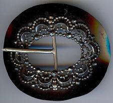 BEAUTIFUL 1920'S ANTIQUE BLACK CELLULOID & CUT STEEL BELT BUCKLE