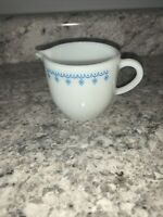 Vintage Pyrex Tableware Blue Snowflake Garland Milk Glass Creamer 722 USA MADE