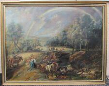Antikes Gemälde Öl  Landleben Kühe , Rinder , Ernte ,