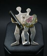 Hand Signed Iriniri Sterling Silver Watermelon Tourmaline People Tie Tack OS326