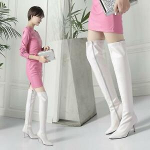 Women's patent Leather pointy toe Stiletto Heel Side Zip Over the Knee Boots