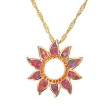 New Orange Opal Orange Garnet Yellow Gold Women Jewelry Pendant Necklace OD6807