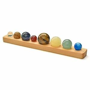 JSDDE Natural Gemstone 8 Planets with Wood Base Handmade Desk Planets Crystal