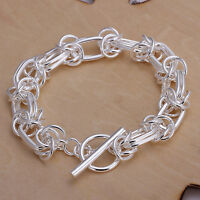 "925Sterling Silver Circle Knot T-O Clasp Men Chain Women Bracelet 8"" HY025"