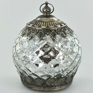 Beautiful Small Moroccan Style Glass Lantern With LED Lighting New & Boxed