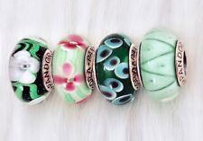 4 Pandora silver Murano Christmas Green White Flower Glass Beads Charm