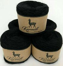 Alpaca Wool Skeins 100% Superfine Alpaca Sport Weight Yarn Lot of 5 Black A9500