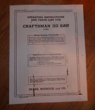 SEARS CRAFTSMAN 18 INCH JIG SAW OWNERS MANUAL 103.23150 23150