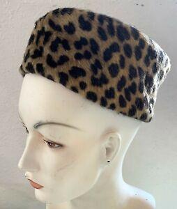 Vintage Gene Doris New York Leopard Print Pillbox Hat