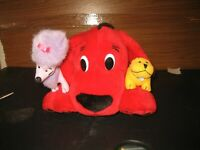 "Clifford The Big Red Dog Cleo & T-bone Minis On Paw 14"" Plush Animal Toy Stuffed"
