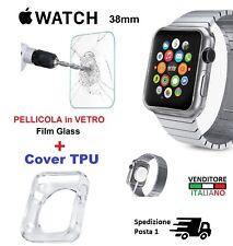 Cover in TPU + PELLICOLA VETRO GLASS Silicone per APPLE i WATCH 38mm case sport