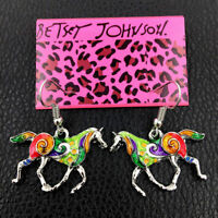 Betsey Johnson Multi-Color Enamel Steed Horse Earbob Women's Dangle Earrings