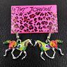 Betsey Johnson Multi-Color Enamel Steed Horse Earbob Women's Dangle Earrings