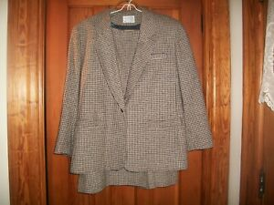 Vtg Pendleton 2 Piece Skirt Suit Houndstooth Plaid 100% Wool Lined Womens  SZ 14