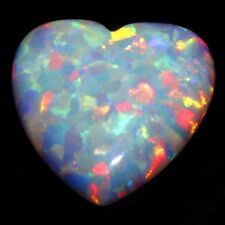 WHITE FIRE OPAL SYNTHETIC LOOSE GEMSTONE 10mm HEART SHAPE CABOCHON