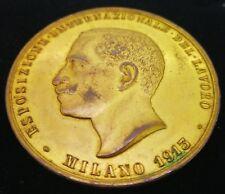 MEDAGLIA 1913 GORI EXPO MILANO LAVORO AVIAZIONE SPORT BRONZO DORATO   M151