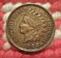 1906 Indian Head Cent / U.S. Coin VF/EF, Liberty, Diamonds