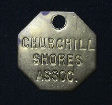 Brass 29mm Churchill Shore Assocation Vintage Keychain Fob Plaque Tag